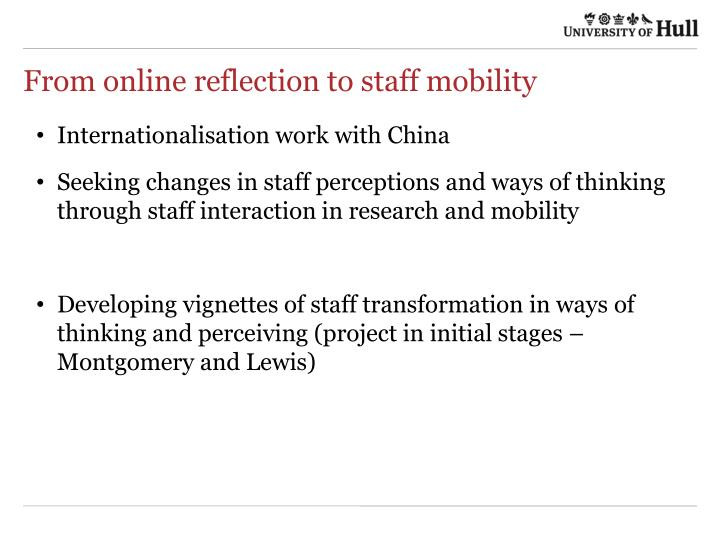 From online reflection to staff mobility