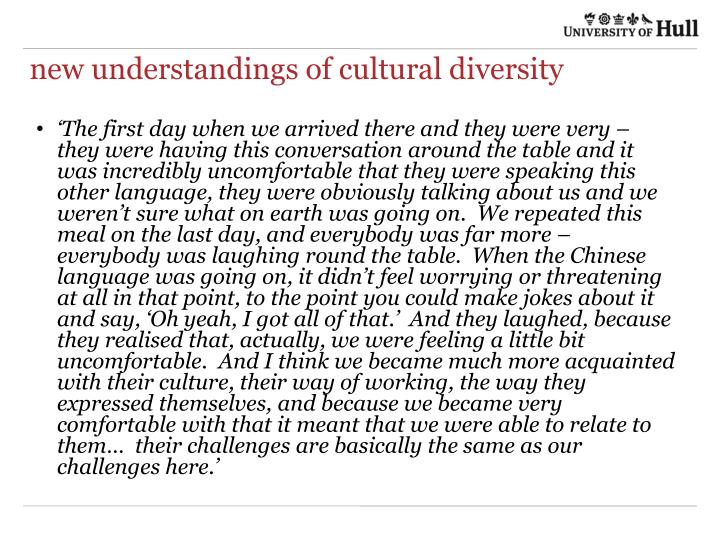 new understandings of cultural diversity