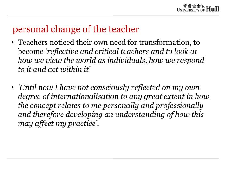 personal change of the teacher