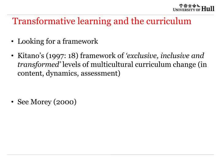 Transformative learning and the curriculum