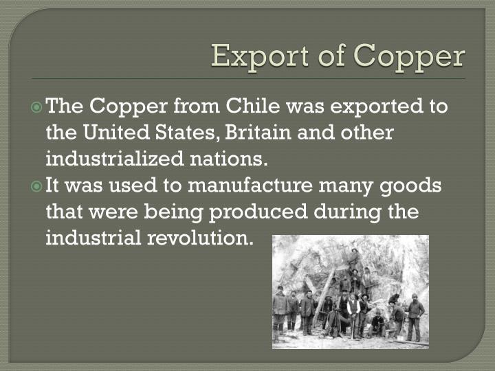 Export of copper