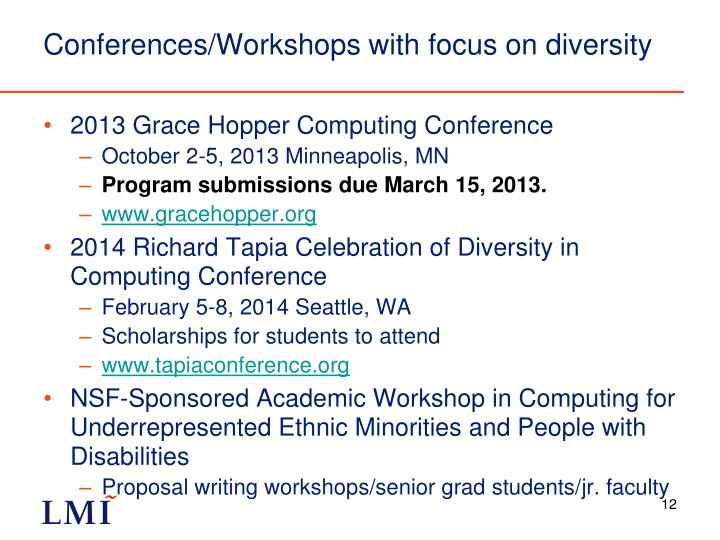 Conferences/Workshops with focus on diversity