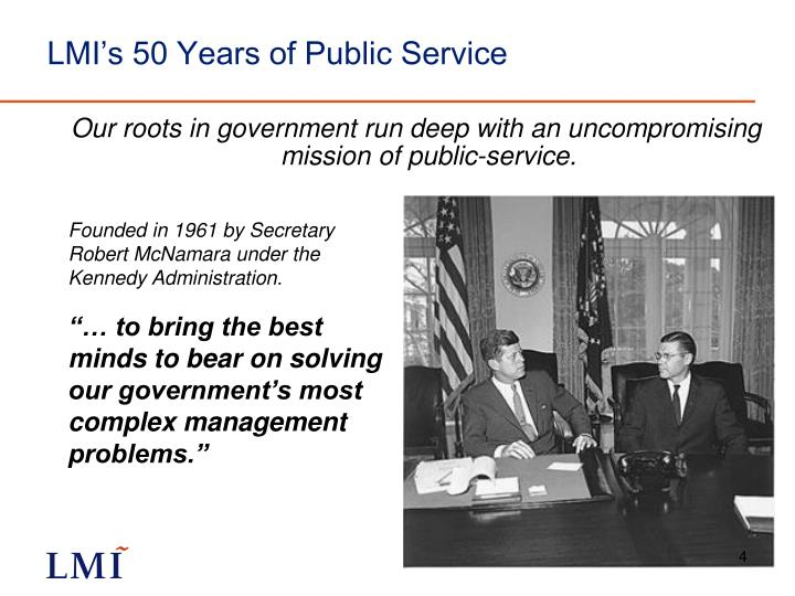 LMI's 50 Years of Public Service