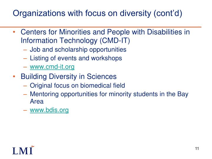 Organizations with focus on diversity (cont'd)
