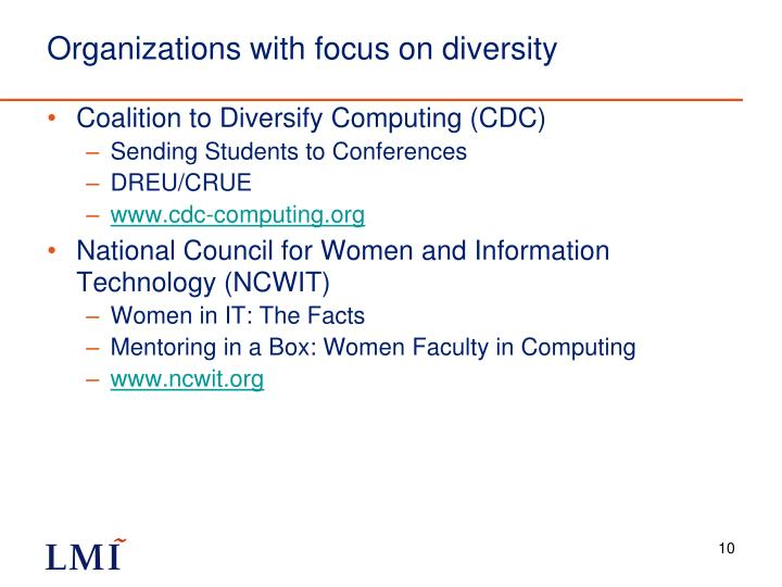 Organizations with focus on diversity