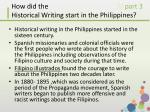 how did the historical writing start in the philippines