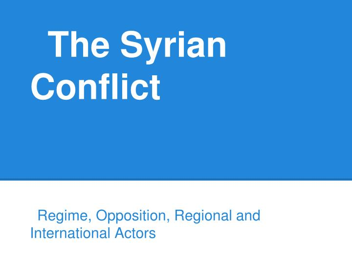 the syrian conflict n.