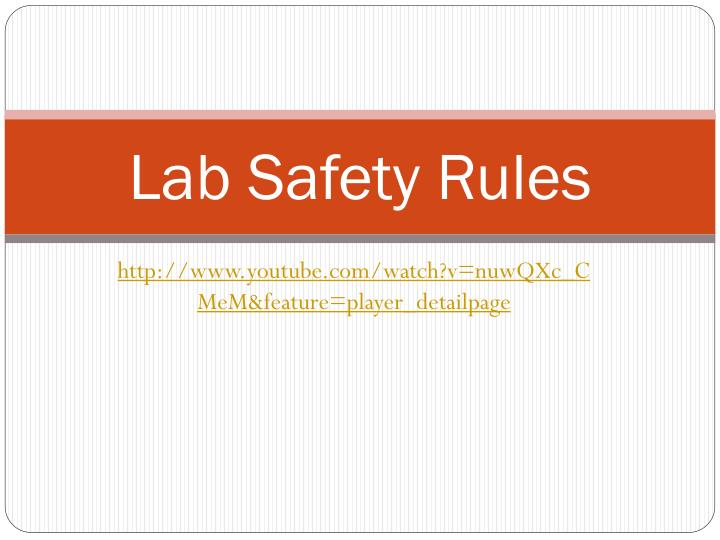 lab safety rules n.