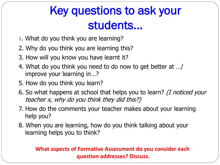 Key questions to ask your students...