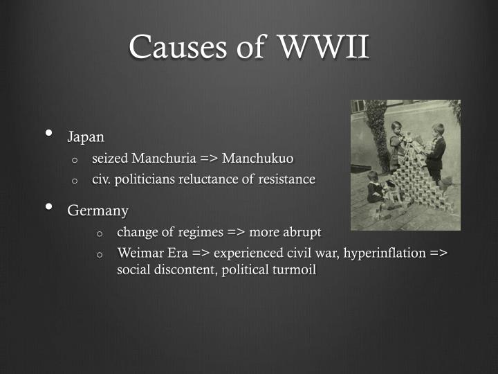 causes of wwi There were four main causes of world war i: militarism, alliances, imperialism and nationalism the first world war was a direct result of these four main causes, but it was triggered by the assassination of the austrian archduke franz ferdinand and his wife.