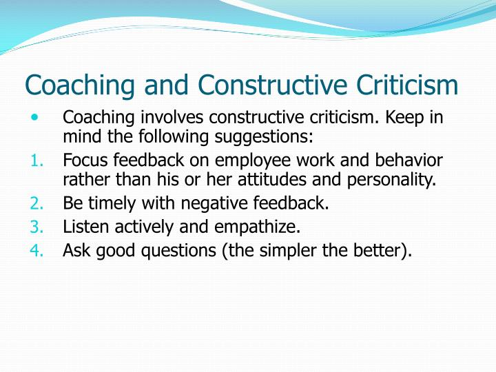 Coaching and Constructive Criticism