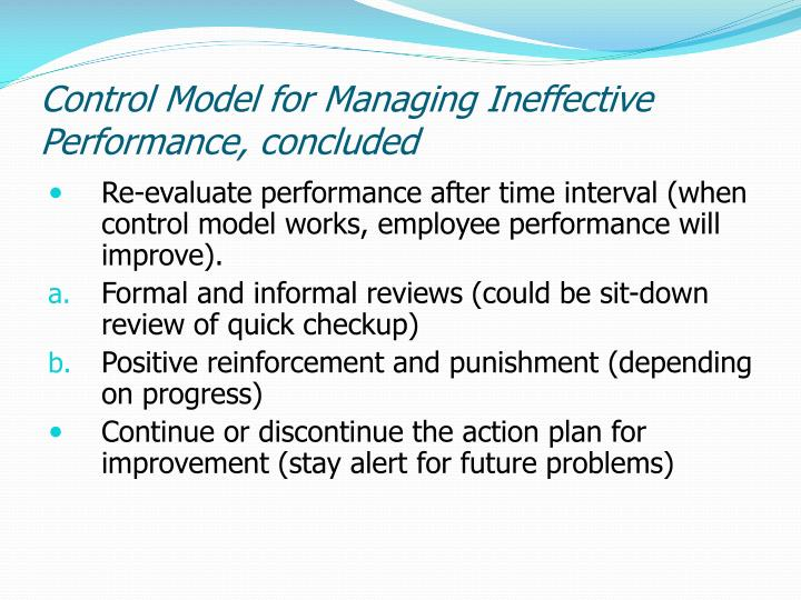Control Model for Managing Ineffective Performance, concluded