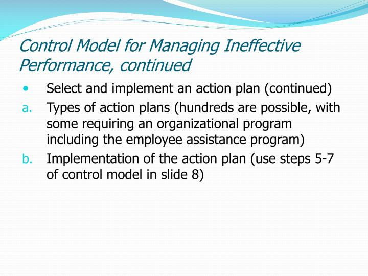 Control Model for Managing Ineffective Performance, continued