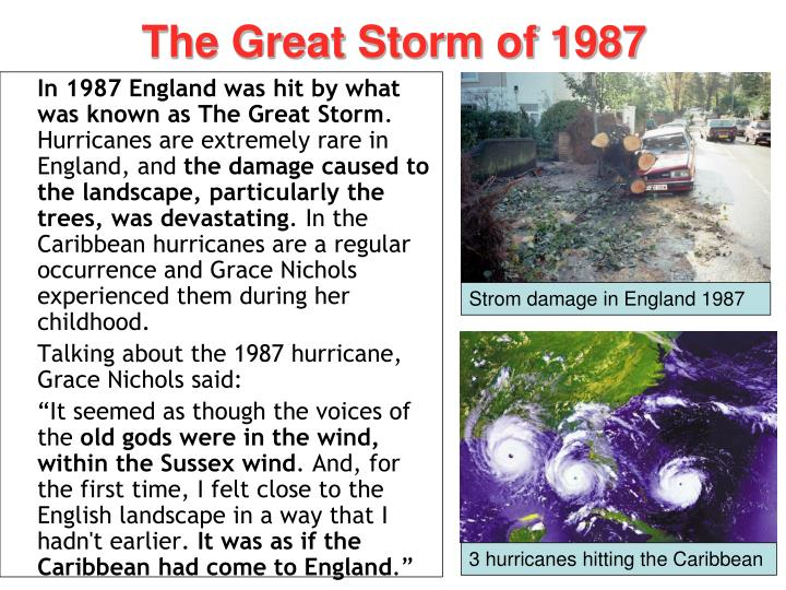 hurricane hits england by grace nichols and the article from the times by john young essay Mother nature network is the world's leading source for environmental news, advice on sustainable living, conservation and social responsibility.