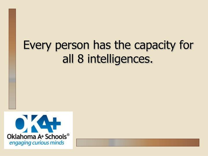 Every person has the capacity for all 8 intelligences.