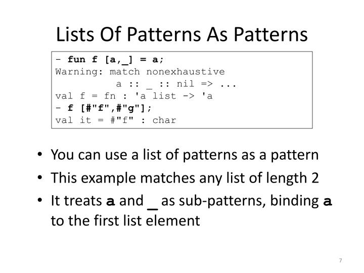 Lists Of Patterns As Patterns