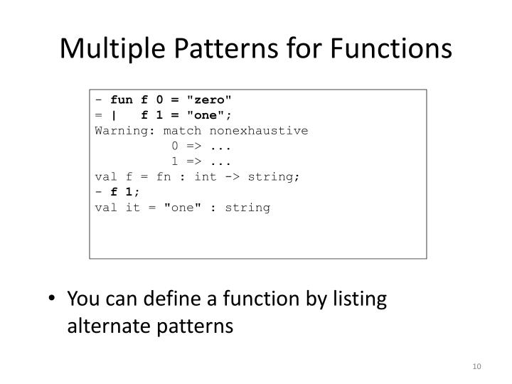 Multiple Patterns for Functions