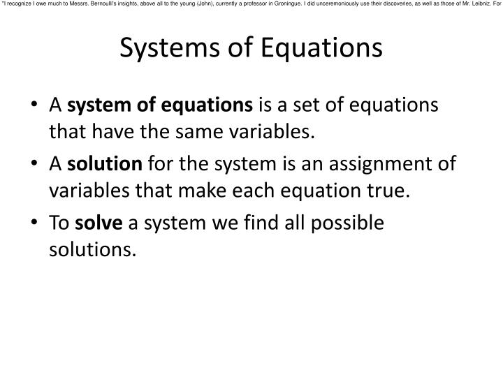 Systems of equations1
