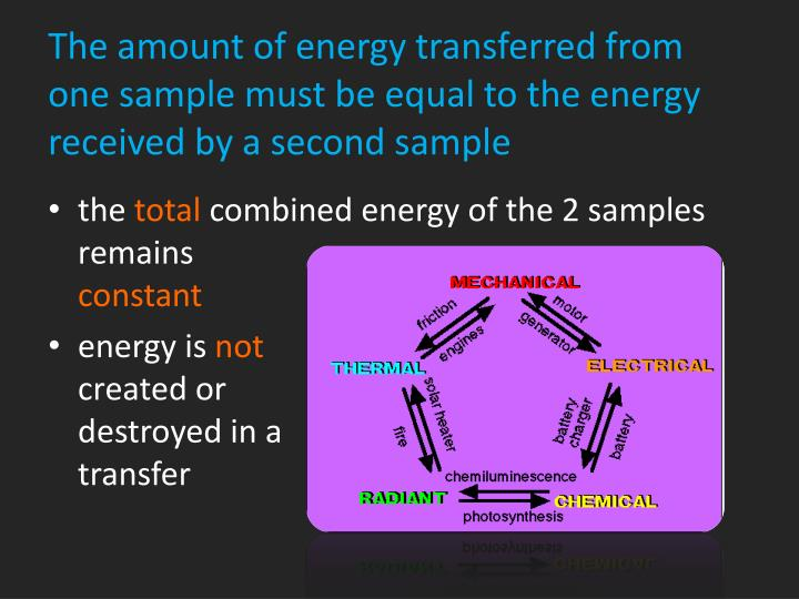 The amount of energy transferred from one sample must be equal to the energy received by a second sample
