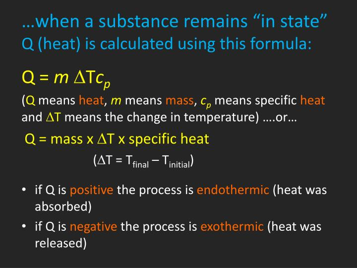"…when a substance remains ""in state"""