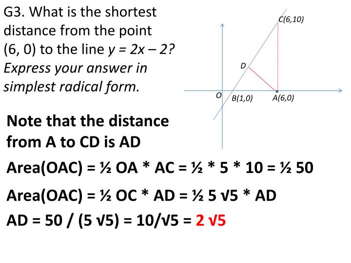 G3. What is the shortest distance from the point