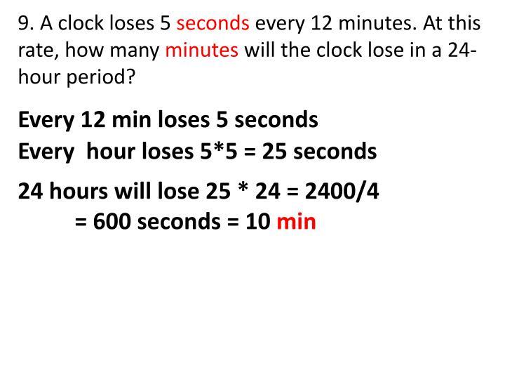 9. A clock loses 5