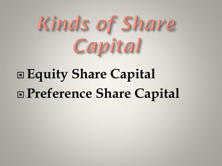 Kinds of Share Capital