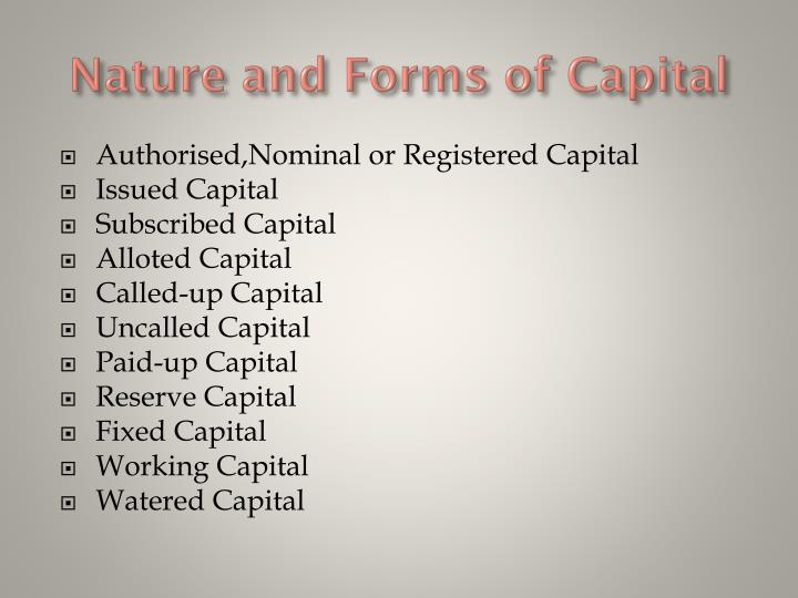 Nature and Forms of Capital
