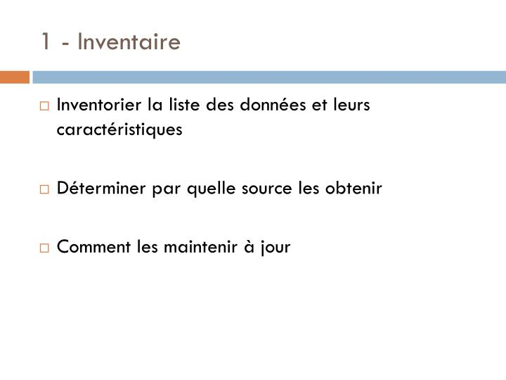 1 - Inventaire