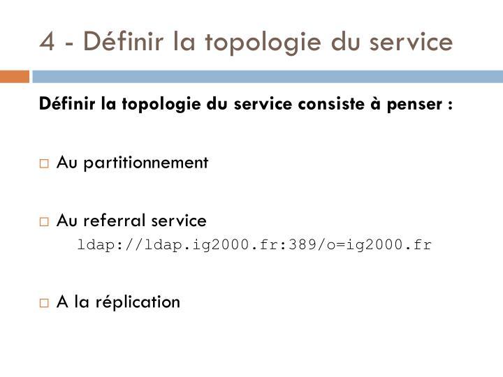 4 - Définir la topologie du service