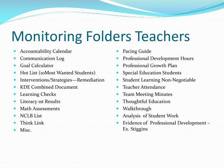 Monitoring Folders Teachers