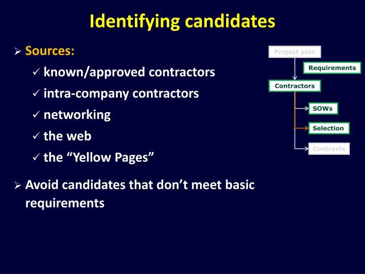 Identifying candidates