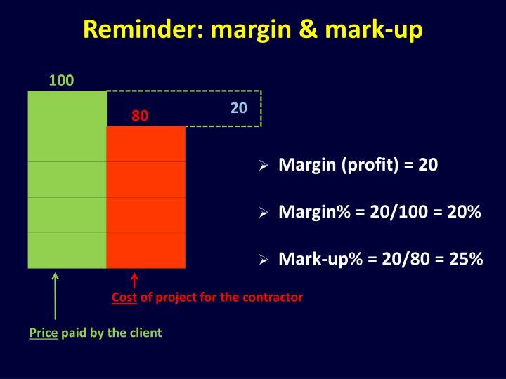 Reminder: margin & mark-up