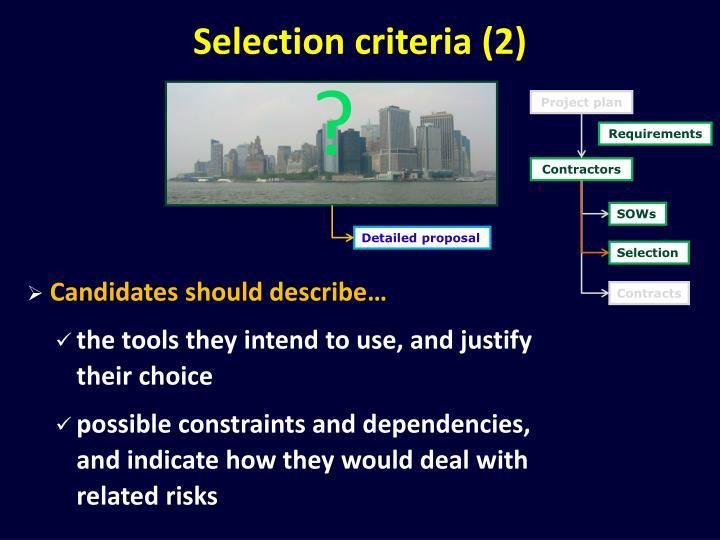 Selection criteria (2)