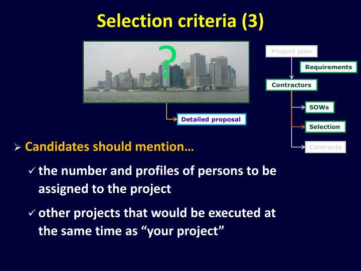 Selection criteria (3)