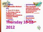 thursday 10 18 2012