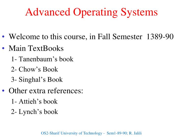 advanced operating systems n.