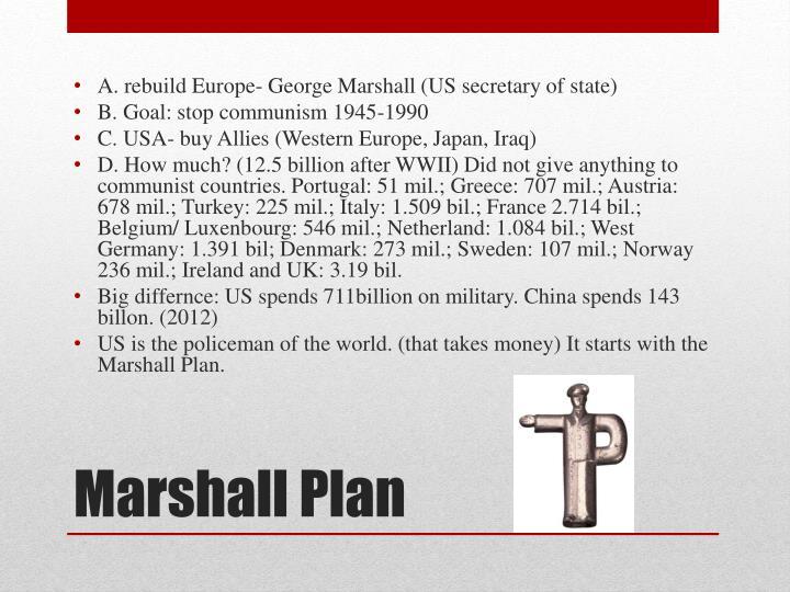 A. rebuild Europe- George Marshall (US secretary of state)