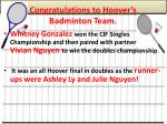 congratulations to hoover s badminton team
