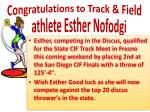 congratulations to track field athlete esther nofodgi