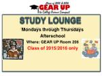 mondays through thursdays afterschool where gear up room 206 class of 2015 2016 only