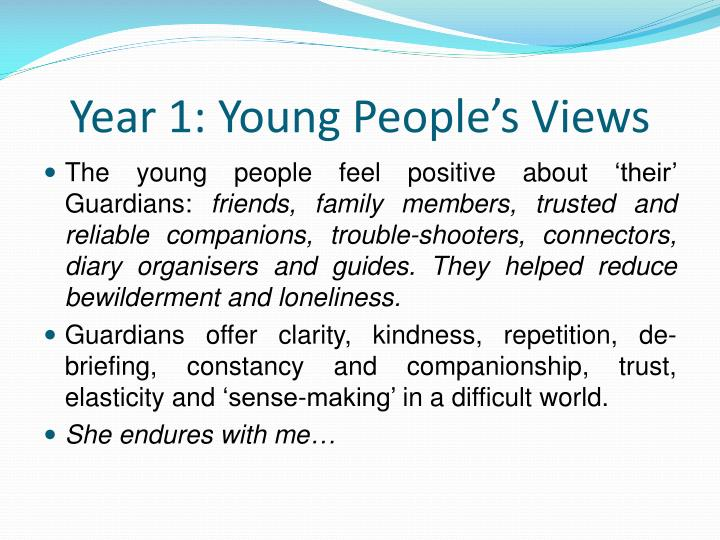 Year 1: Young People's Views