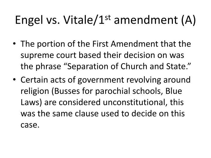 Engel vs vitale 1 st amendment a