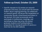 follow up email october 23 2009