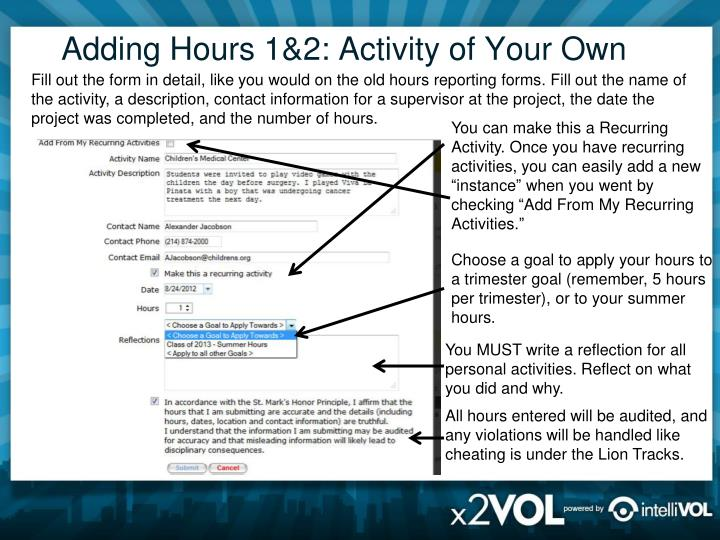 Adding Hours 1&2: Activity of Your Own