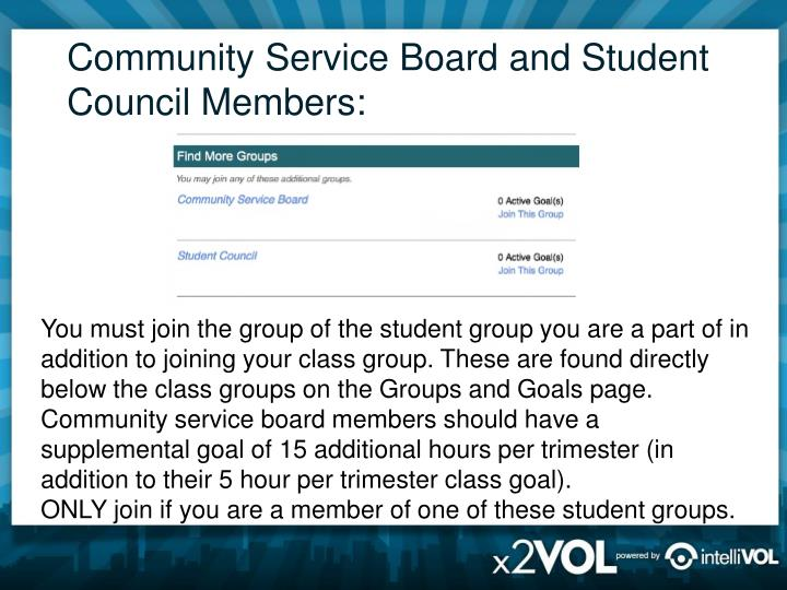 Community Service Board and Student Council Members: