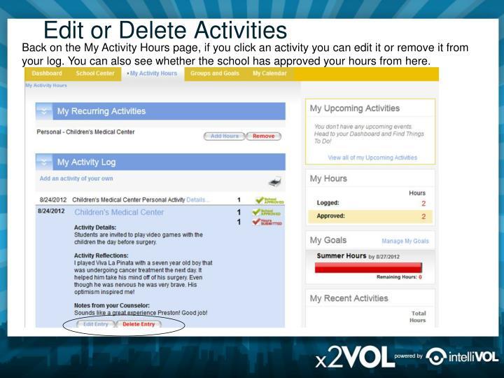 Edit or Delete Activities