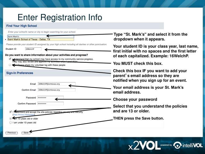 Enter Registration Info
