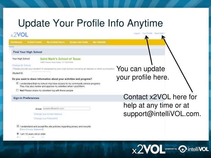 Update Your Profile Info Anytime