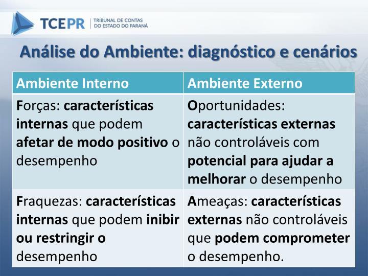 Análise do Ambiente: diagnóstico e cenários